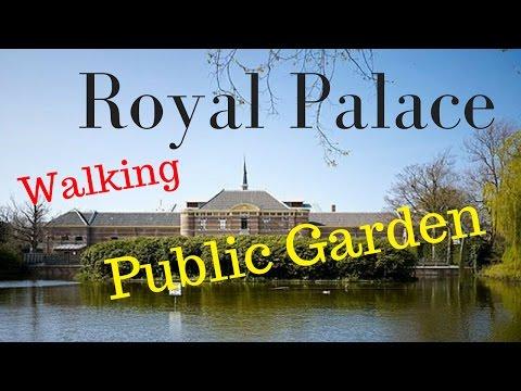"Walking the Royal Palace ""Noordeinde"" The Hague (Den Haag) public garden (4K)"