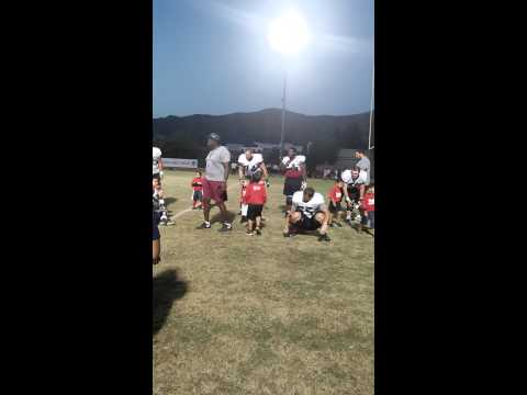 Hunter practicing w/APU football & Jackie Slater