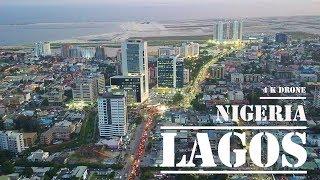 Lagos  Nigeria - fly Victoria Island amp  Eko Atlantic  4 k ULTRA HD drone footage 2019