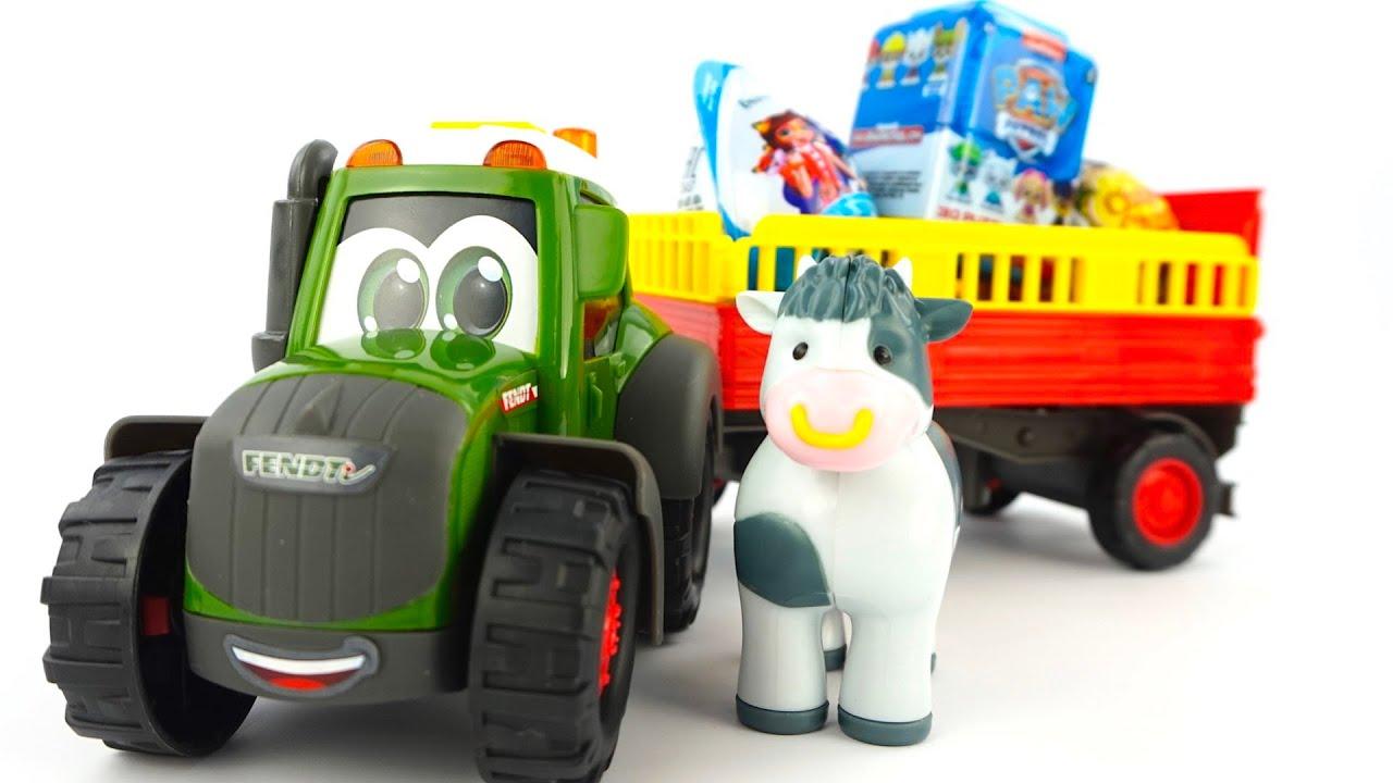 Трактор Лева и корова Настя привезли сюрпризы и игрушки