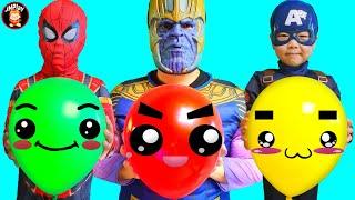 큰일났어요! 풍선이 터졌어요 Funny popping balloons! learn colors song with Superheroes 핑크퐁 체조!! 유치원 교육, 인기동요