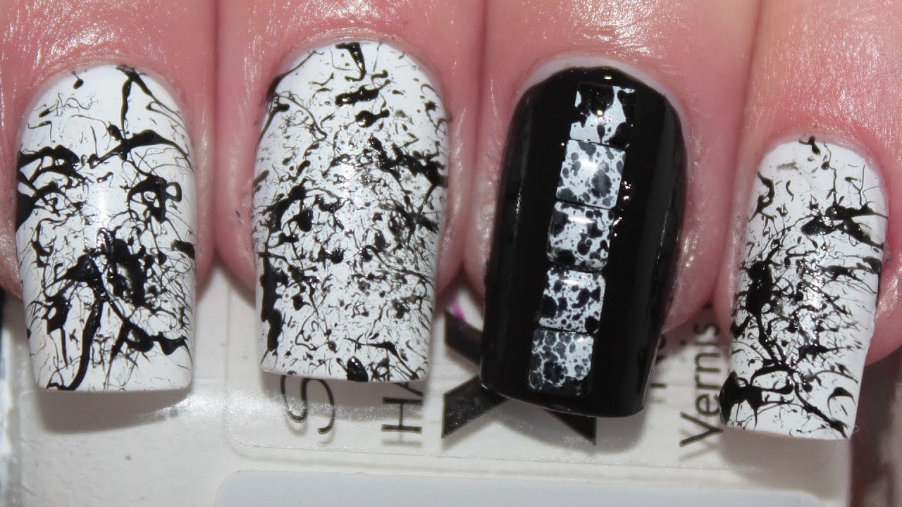 Black white splatter nail art tutorial youtube prinsesfo Image collections