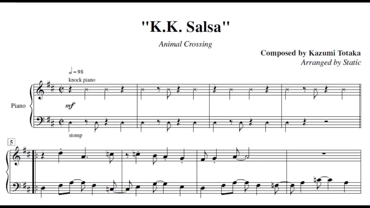 K K Salsa Animal Crossing Piano Sheet Music Youtube