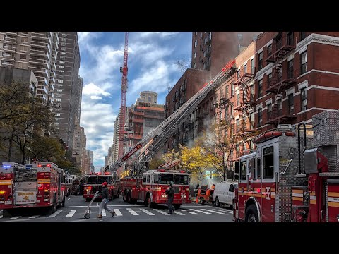 | FDNY On-Arrival 3rd Alarm Box 1192 | Major Fire throughout a 5 story MD, Aerial & Street View