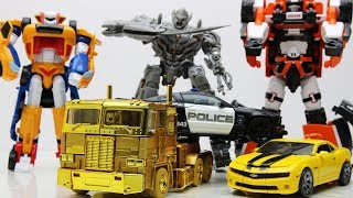 Optimus Prime vs Megatron Transformers Animation - Bumblebee Tobot Robot Lego Robbery Museum & Mummy