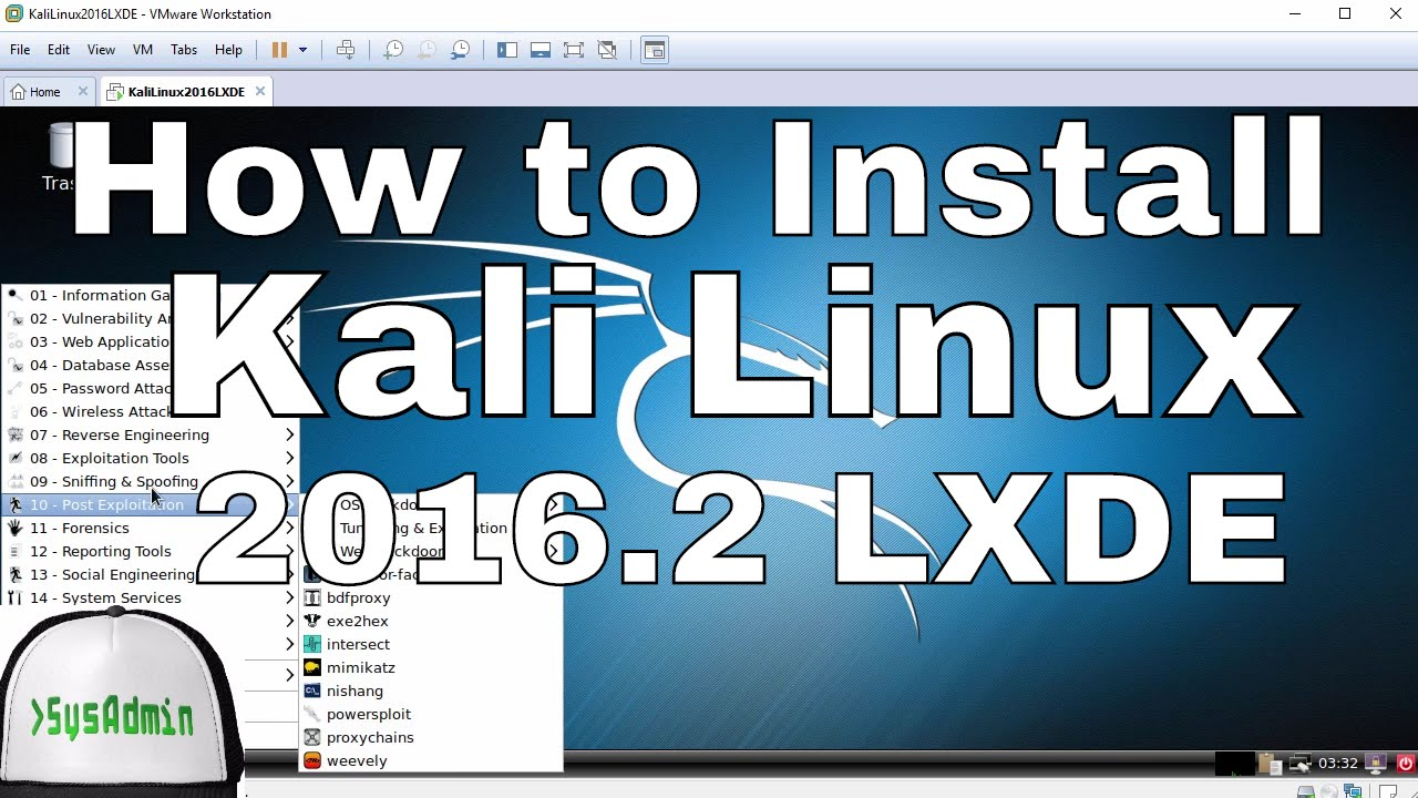 How to Install Kali Linux 2016 2 LXDE + VMware Tools on VMware  Workstation/Player Tutorial
