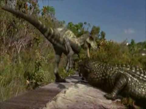 Albertosaurus, Deinosuchus and T-Rex.