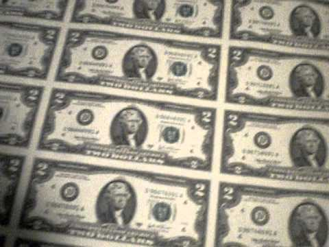 Uncut Sheet of 32 Two Dollar Bills