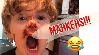 Twin Brothers toddlers funny marker mess on face! [Blake and Kyle]