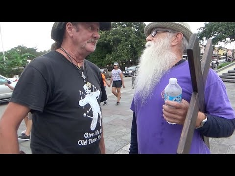 DERANGED man with KNIFE threatens Street Preacher! Jackson Square