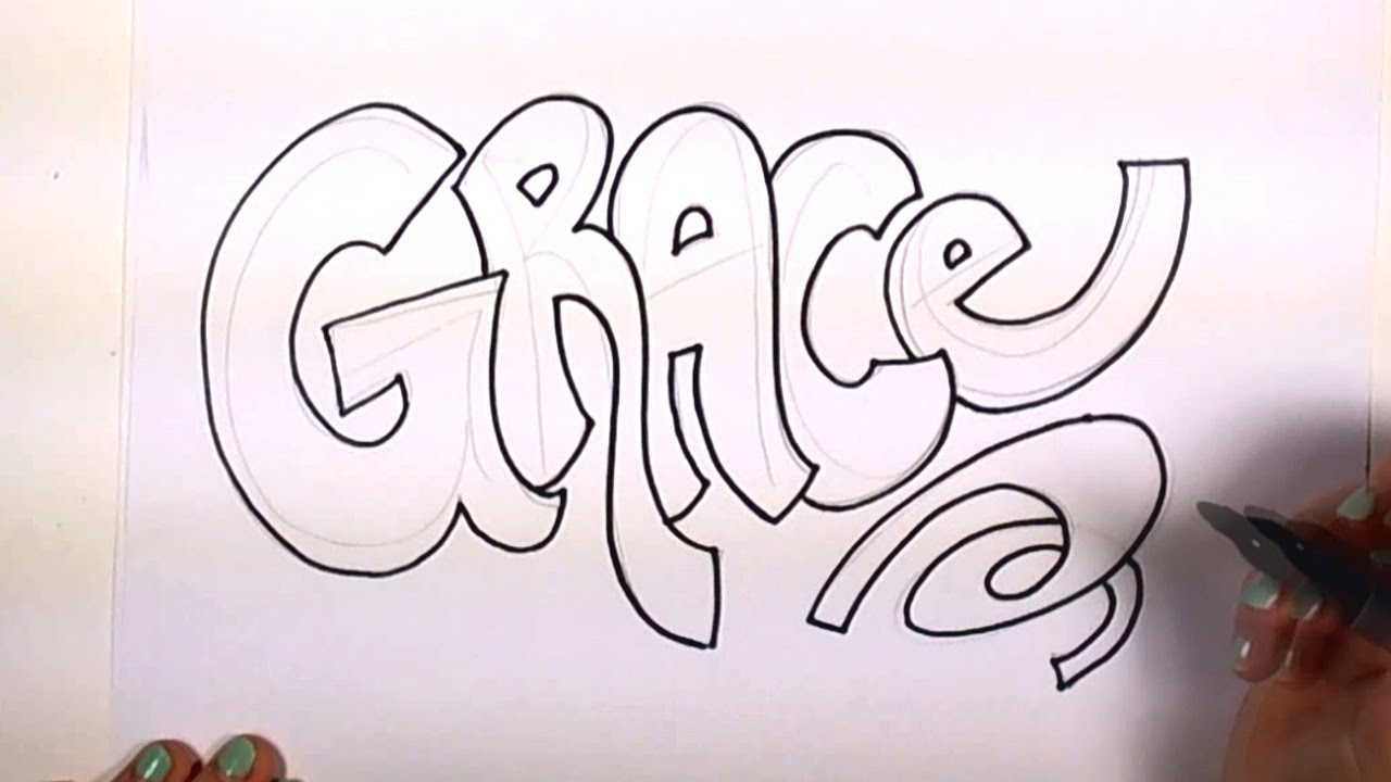 How to draw your name cool letters grace in graffiti for How to doodle names