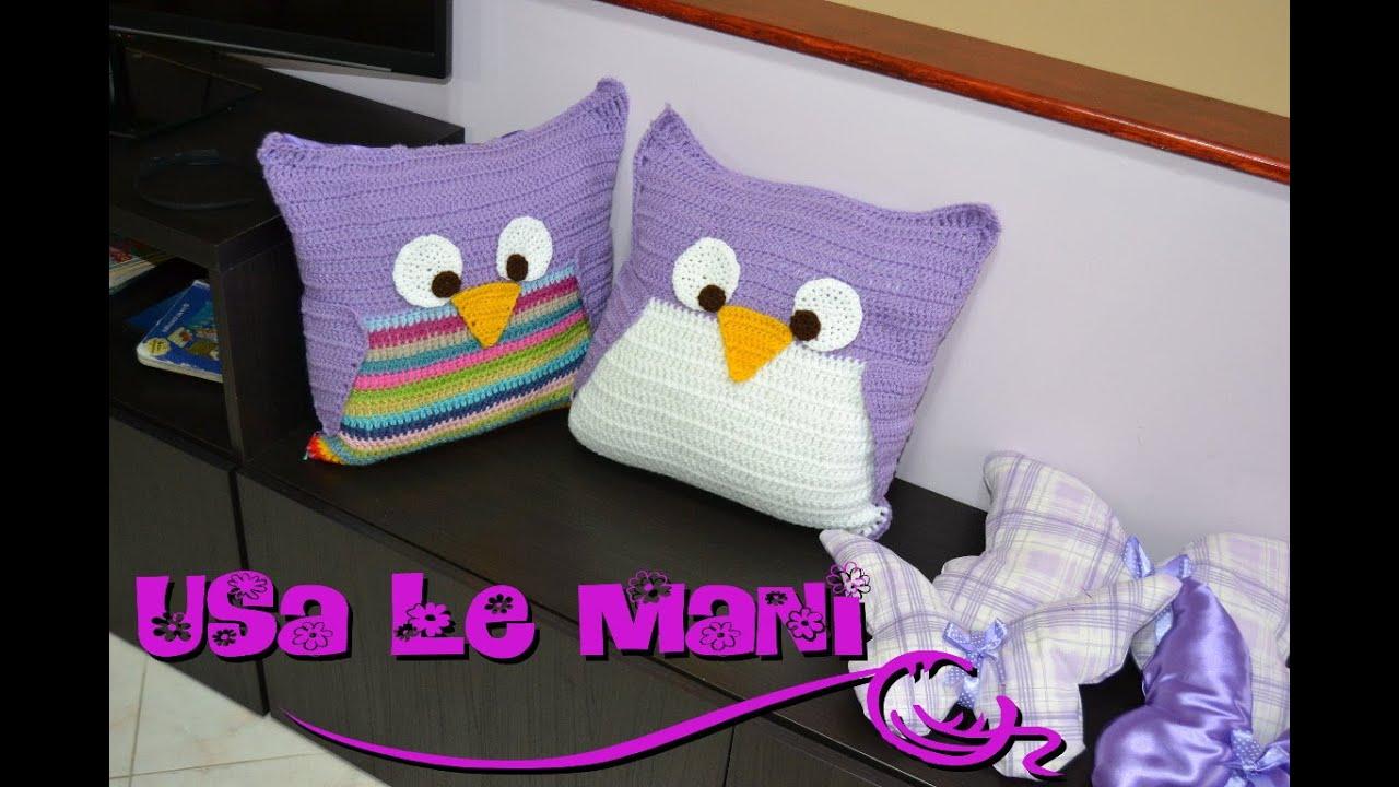 Tutorial cuscino gufo a uncinetto crochet owl pillows tutorial