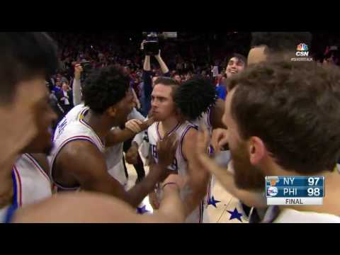 TJ McConnell Fade-away Game Winner!   Knicks vs 76ers   January 11, 2017 NBA regular season