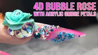 4D BUBBLE ROSE WITH ACRYLIC OMBRE PETALS