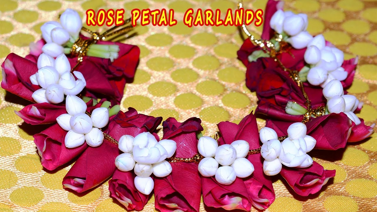 Mehndi Flower Garlands : Rose petal with nandhiavattam flower string garlandthai jasmine