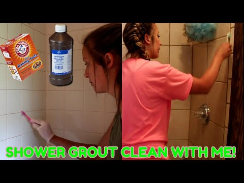 CLEANING THE GROUT IN TWO SHOWERS|HOMEMADE SOLUTION!