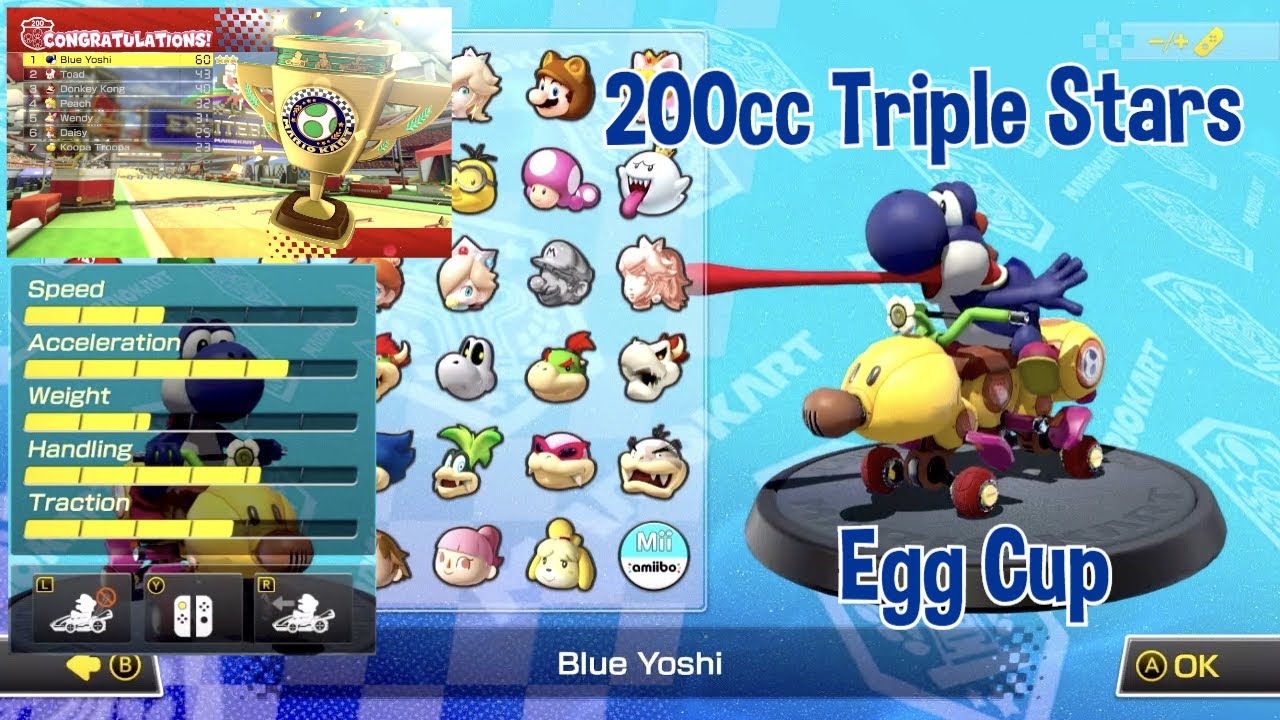 nintendo mario kart 8 deluxe 200cc egg cup blue yoshi triple stars grand prix gameplay youtube. Black Bedroom Furniture Sets. Home Design Ideas