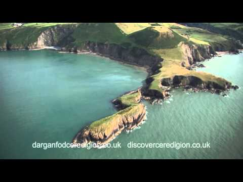 Ceredigion Cardigan Bay coast from the air