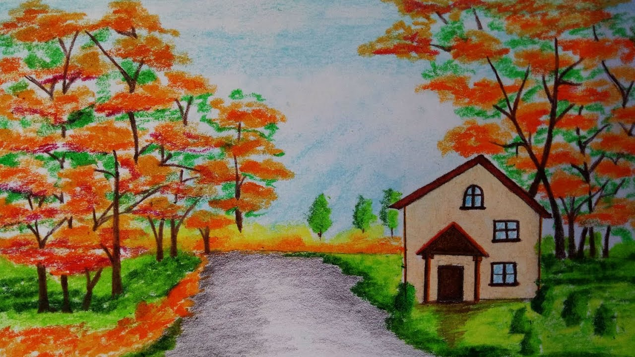 how to draw autumn season scenery step by step easy draw youtube