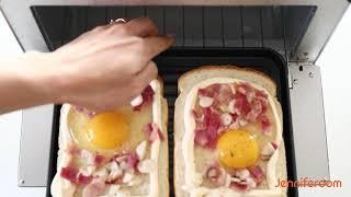 제니퍼룸 오븐 토스터로 꿀맛 까르보나라 토스트 만들기