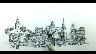 How to draw a panoramic city skyline or cityscape with buildings