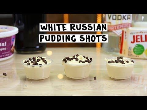 White Russian Pudding Shots - Tipsy Bartender