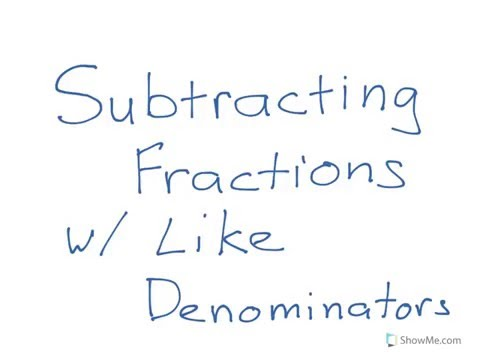 Subtracting Mixed Fractions -- Like Denominators Renaming No ...