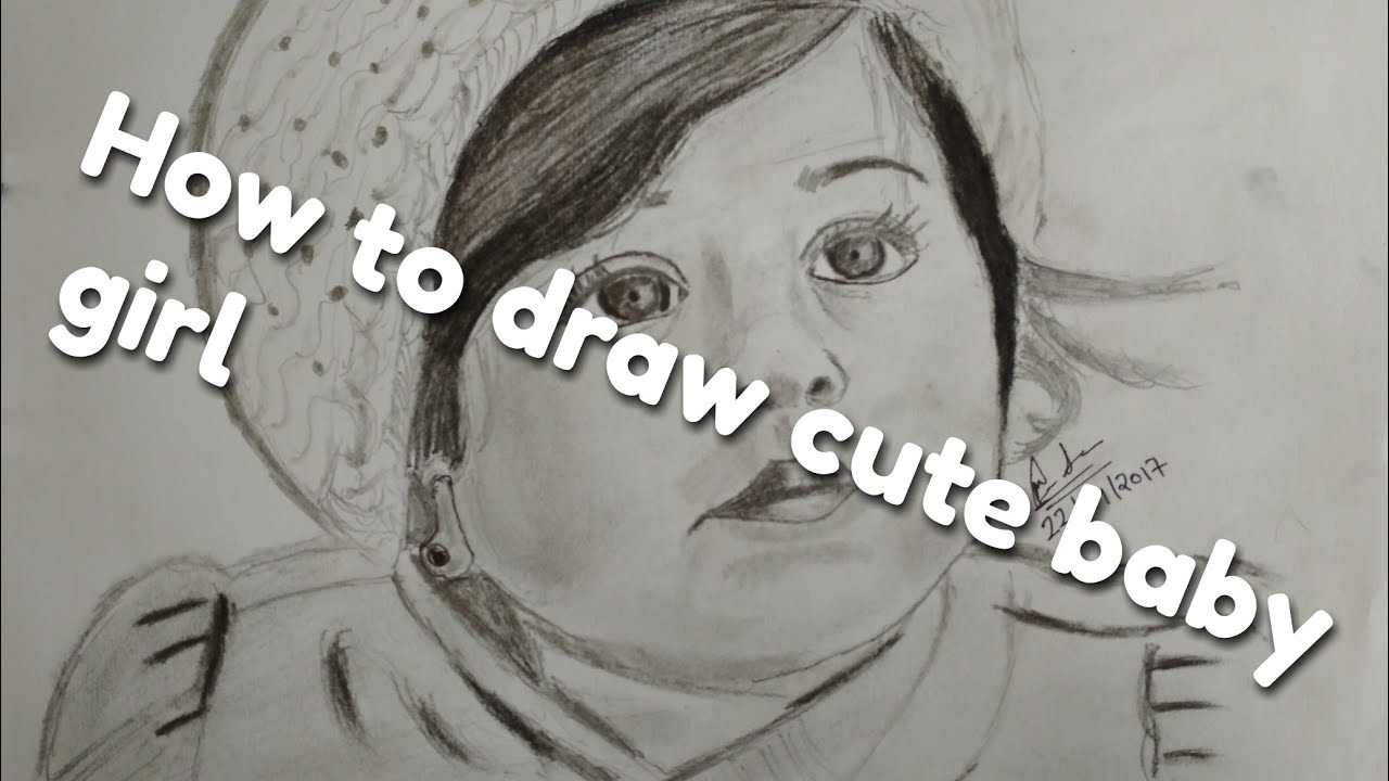 How to draw cute baby girl sketch