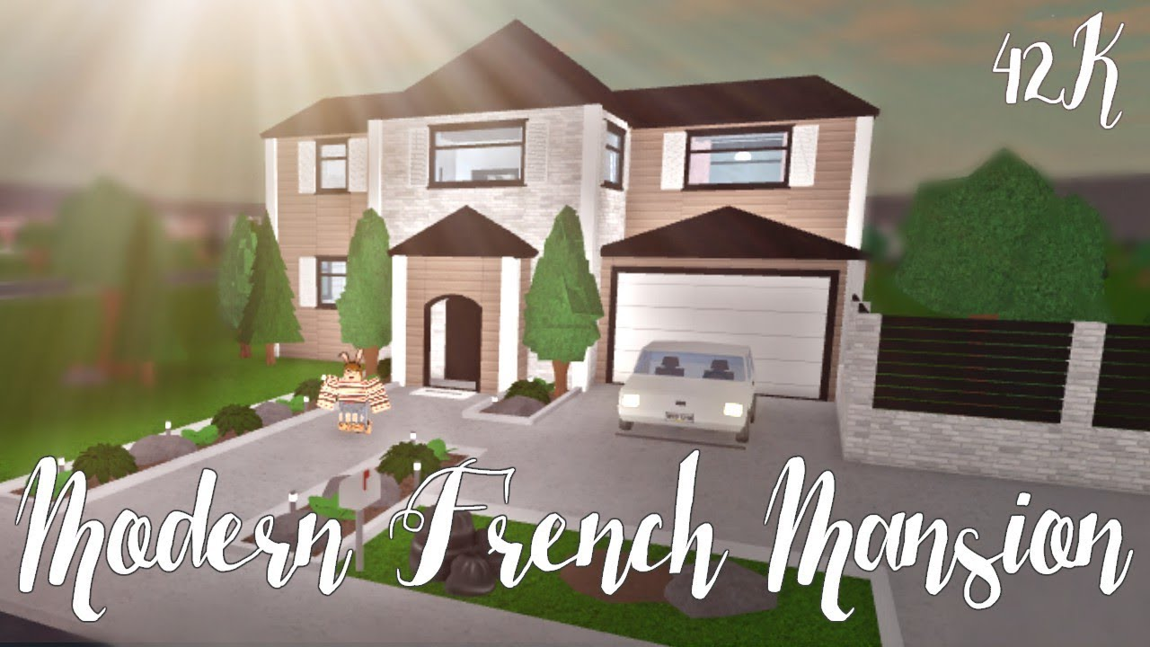 Bloxburg modern french mansion 42k youtube for Modern house design bloxburg