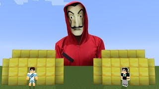 BASE DE OURO VS LA CASA DE PAPEL GIGANTE no MINECRAFT