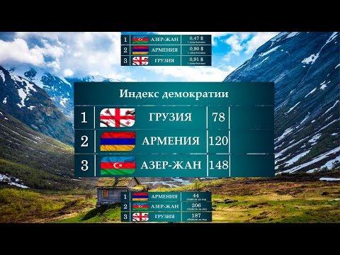 Сравнение. Кавказские Страны: Азербайджан, Армения, Грузия. Интересные Факты!