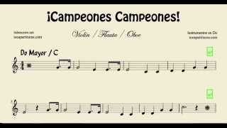 Video Campeones Campeones Partitura de Violín Flauta y Oboe download MP3, 3GP, MP4, WEBM, AVI, FLV Mei 2018