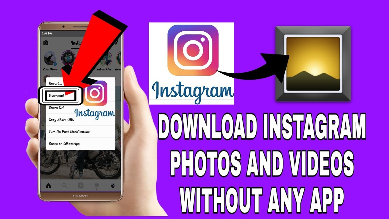 How to download Instagram photos and videos without any other app download  in INSTAGRAM