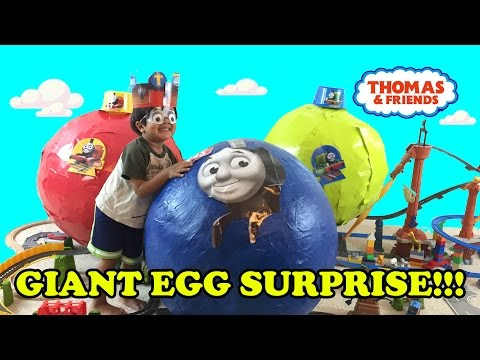 GIANT EGG SURPRISE OPENING Thomas and Friends toy trains kids video Ryan ToysReview