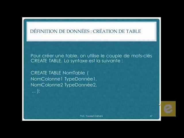 SQL 10: Définition de Données :Création Table