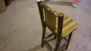 Amish Made Glacier Country Log Furniture Barstool With Back By Montana Woodworks