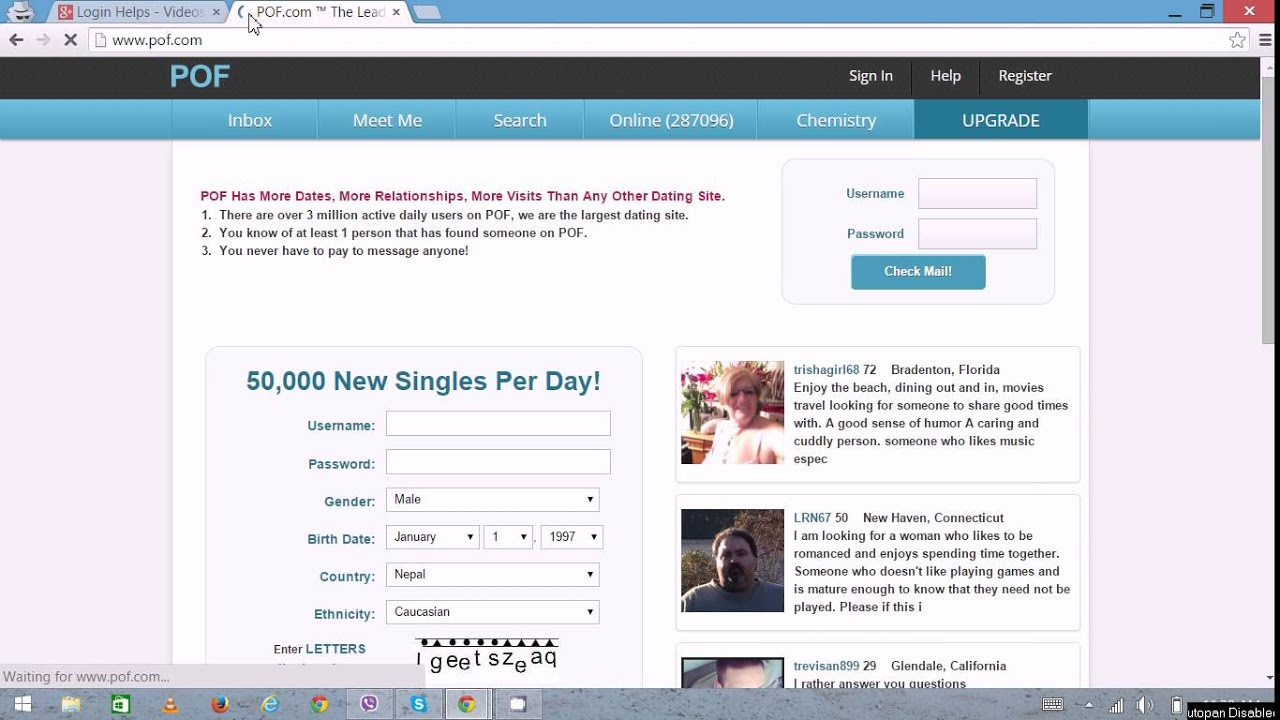 Free dating sites logins