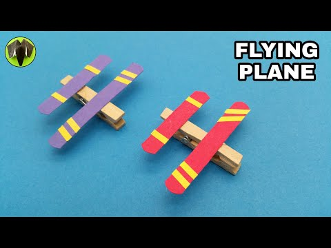 FLYING PLANE using Clothes Pin/Peg - DIY | Handmade | Tutorial | Paper Folds - 774