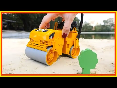 Sand Pit Toys: ROAD ROLLER - How to Build a City - Kids Construction Playground!