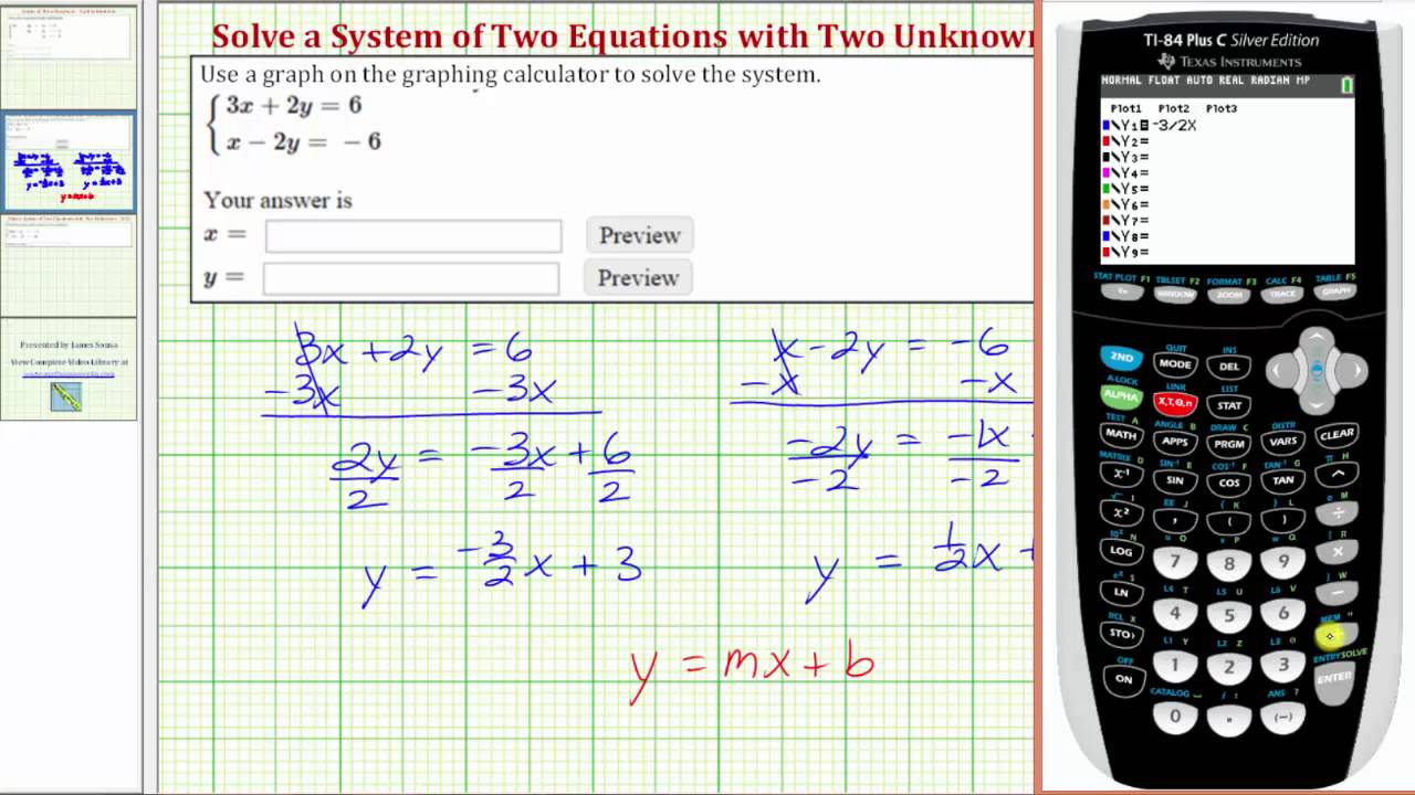Ex: Solve A System Of 2 Equations With 2 Unknowns By Graphing On The Ti84