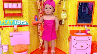 Baby Doll Bathroom! 🎀 Play AG Doll Morning Routine in the Dollhouse! thumbnail