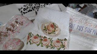Toallas y jabones decorados. Decoupage, foil laminador, tela,  Pinturas Eterna #GracielaHerman