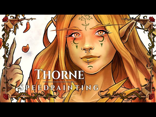 THORNE - Dryad / Elf Character Artwork in Clip Studio Paint - Speed Coloration of premade Drawing