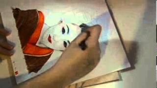 Speed Drawing: Geisha 「イラストの芸者」