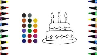 How to Draw Birthday Cake | Coloring Pages For Kids | Learn Colors for Kids | Drawing For Kids Pages