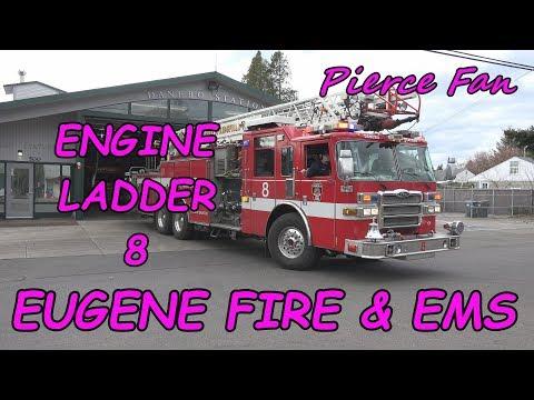Engine-Ladder 8 Responding Eugene Springfield Fire & EMS (2007 Pierce Dash 75' Quint) [4K]