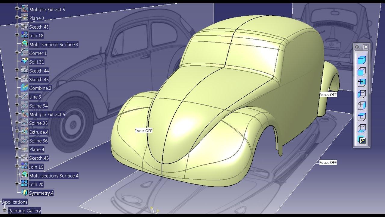 catia  volkswagen beetle  generative shape design youtube