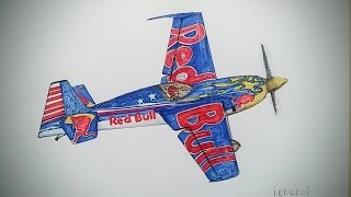 Red Bull Stunt Aircraft, Drawing Timelapse