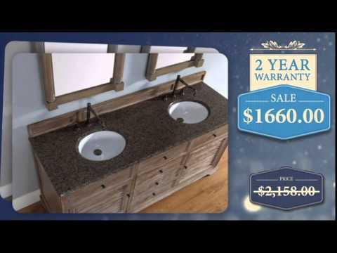 72 Inch Double Sink Bathroom Vanity in Driftwood Finish - uniquevanities.com