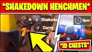 SHAKEDOWN KNOCKED HENCHMEN & OPEN CHESTS LOCKED BY AN ID SCANNER LOCATIONS (Fortnite Season 2)
